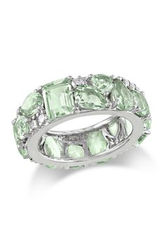 Rich & Royal: Gemstone Jewelry  Sterling Silver Multi-Shape Green Amethyst Fashion Ring