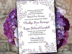 Instantly download and print this garden wedding invitation template in eggplant today! Your files will be available to you from Etsy as soon as you order. Designed with the Whimsy wedding invitation package in mind. Matching RSVP: https://www.etsy.com/listing/250466224/ ▬▬▬ COLOR CHANGE ▬▬▬ Prefer this design in a different color? Do not purchase this listing. Purchase our color change listing instead: https://www.etsy.com/listing/186482391/...