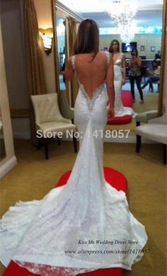 Berta Sexy Backless Wedding Dresses Lace Sweetheart Beads Fishtail Mermaid Bridal Gown 2015 Vestido de Noiva Sereia Court Train
