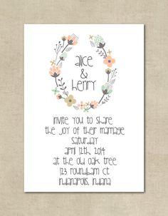 Wedding Invitation - Vintage, Floral, Romantic, Shabby Chic, Rustic, Printable, Custom