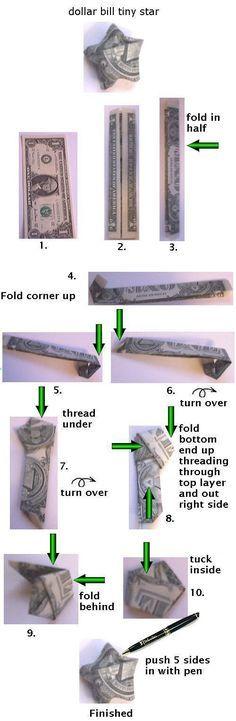 dollar bill origami Lucky star