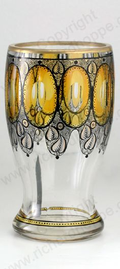 ANTIQUE c.1910 STEINSCHÖNAU BOHEMIA SCHWARZLOT BLACK & YELLOW ENAMELLED GLASS GOBLET VASE Price: £265.00  For more information about this item click here: http://www.richardhoppe.co.uk/item.php?id=2314 or email us here: info@richardhoppe.co.uk