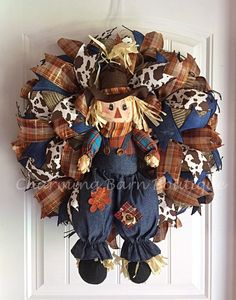 Fall Wreath Fall Scarecrow Wreath by CharmingBarnBoutique on Etsy Fall Wreath Fall Scarecrow Wreath by CharmingBarnBoutique on Etsy # Thanksgiving Wreaths, Autumn Wreaths, Holiday Wreaths, Thanksgiving Decorations, Halloween Wreaths, Holiday Decor, Scarecrow Wreath, Fall Scarecrows, Deco Mesh Wreaths