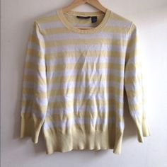 Vintage Spring Sweater  Yellow classic stripe sweater! Adorable and in good vintage condition. Very small stains you can't notice unless you look very closely. Perfect for spring or summer.  cute, spring, stripes, classic, summer, lightweight. Vintage Sweaters