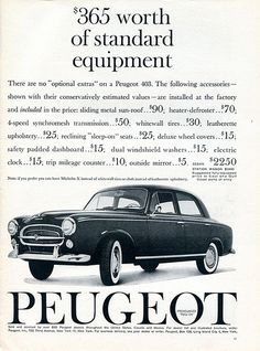 1960 Peugeot 403 Advertising Sports Car Illustrated December 1960 | Flickr - Photo Sharing!