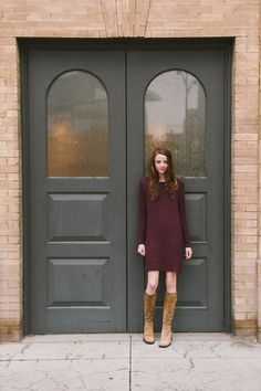 Velvet by Graham and Spencer Sena Cozy Jersey Shift Dress available in Merlot features a side zipper at the hem.  The cozy jersey fabric is so soft it is compared to cashmere.  Made in USA.