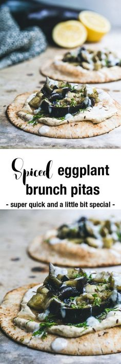 With steamed eggplant tossed in cumin and coriander, hummus, mint and yoghurt on spiced pitas, these vegan Spiced Eggplant Brunch Pitas are so moorish