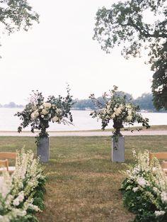 European Garden-Inspired Wedding on the Eastern Shore Wedding Ceremony Decor Wedding Ceremony Ideas, Wedding Reception, Reception Entrance, Entrance Table, Ceremony Backdrop, Cheap Wedding Flowers, Floral Wedding, Purple Wedding, Garden Wedding