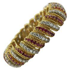 Ruby Diamond Gold Barber Pole Bracelet | From a unique collection of vintage more bracelets at https://www.1stdibs.com/jewelry/bracelets/more-bracelets/