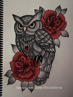 roses owl by FraH on DeviantArt
