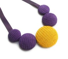 Knitted Cotton Necklace - Purple and Yellow (Free UK Shipping)  £20.00