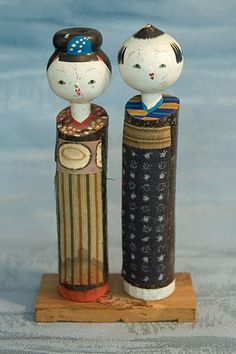 Kokeshi Japanese Wooden Doll Set - Kimono Pair Figurine by softypapa, via Flickr