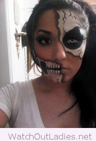 Half skull face paint for Halloween