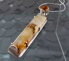 Citrine Agate Pendant Statement Necklace by DixSterling on Etsy. Love the agate bed. Agate Jewelry, Clay Jewelry, Stone Jewelry, Metal Jewelry, Pendant Jewelry, Jewelry Crafts, Jewelry Art, Silver Jewelry, Jewelry Necklaces