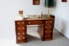 Alter Schreibtisch Pedestal Desk Englisches Möbel