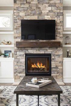 40 Best Fireplace Ideas – Indoor Fireplace Designs, Decor, and Photos - Modern Fireplace Built Ins, Farmhouse Fireplace, Home Fireplace, Fireplace Remodel, Brick Fireplace, Living Room With Fireplace, Fireplace Design, Fireplace Mantels, Fireplace Ideas
