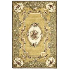 Safavieh Handmade Classic Saveh Light / Green Wool Rug