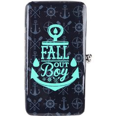 Fall Out Boy Anchor Logo Kisslock Hinge Wallet Hot Topic (£8.78) ❤ liked on Polyvore featuring bags, wallets, kiss lock bag, kisslock wallet, crystal clear bags, kiss lock wallet and anchor bag