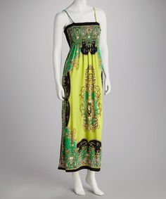 Take a look at this Lime Intricate Filigree Smocked Maxi Dress by India Boutique on #zulily today! $24.99, regular 70.00