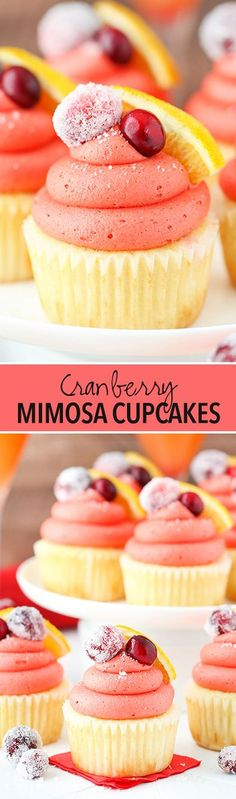Cranberry Mimosa Cupcakes! A cupcake flavored with orange and champagne and cranberry frosting! Perfect for Christmas!