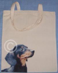 DACHSHUND - SHORT HAIR - COTTON DOG SHOULDER BAG doggy