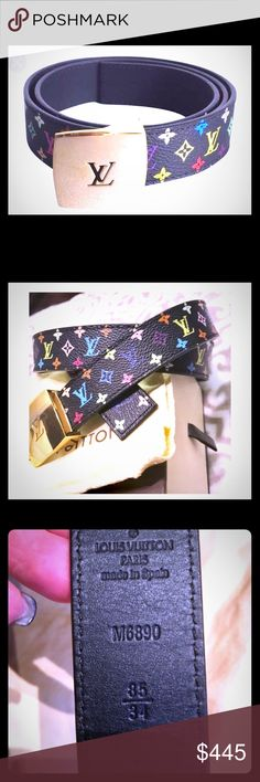 """AUTHENTIC LV BLACK MURAKAMI MUTICOLOR BELT Authentic Louis Vuitton Black Murakami Multicolor Belt From The Takashi Collection. Style #M6899. Approx. 39.5"""" (L) X 1.5"""" (W). Brass buckle has a few small, light marks. Worn Once! In excellent condition! Smoke/pet free environment. Louis Vuitton Accessories Belts"""