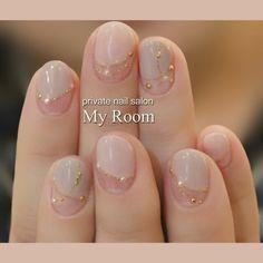 ネイル 画像 マイルーム My Room~private nail salon~ 品川 1183681 グレー ベージュ ピンク パール デート オフィス パーティー 春 秋 ブライダル ソフトジェル ハンド ショート