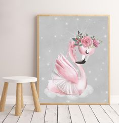 "PRINTABLE FLOSS FLAMINGO Art Print (8x10"" & A4 included) / Printable / Kids Room Decor/ Kids Wall Art / Nursery Wall Art / Swan Print by groovygoose on Etsy Kids Room Wall Art, Nursery Wall Art, Bedroom Wall, Party Invitations Kids, Flamingo Art, Photo Store, Art For Kids, New Baby Products, Art Prints"