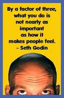 In a blog post many years ago, Seth Godin declared the following 98% rule: By a factor of three, what you do is not nearly as important as how it makes people feel.
