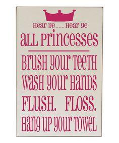 Pink 'Princess Bathroom Rules' Plaque