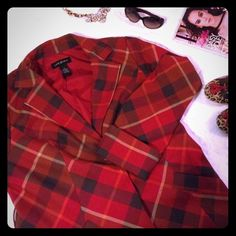 Long Red Plaid Jacket Long red plaid jackets. Hidden snap buttons. Two front pockets. Belt loops. Lane Bryant Jackets & Coats