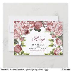 Wedding Rsvp, Wedding Paper, Mauve, Zazzle Invitations, Wedding Invitations, Response Cards, Card Templates, Botanical Gardens, Floral Design