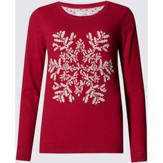 Per Una Cotton Rich Snowflake Jumper ($43) ❤ liked on Polyvore featuring tops, sweaters, red, evening tops, holiday tops, red long sleeve top, snowflake sweater and cotton sweater