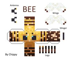 Papercraft Minecraft Bee [all textures] Minecraft Skins, Creeper Minecraft, Art Minecraft, Minecraft Crafts, Minecraft Funny, Minecraft Ideas, Minecraft Buildings, Minecraft Templates, Minecraft Designs