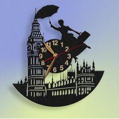 Mary Poppins Wall Clock 12 Wooden Clock Black Wall Decor Gift for kids Big Wall Clocks, Clock Art, Wood Clocks, Clock Decor, Black Wall Decor, Wall Art Decor, Mary Poppins, Disney Clock, Nanny Gifts