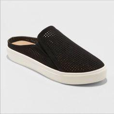 Women's Meena Slip On Sneakers - Universal Thread Black 7 White Slip On Sneakers, Slide On Sneakers, Casual Sneakers, Sneakers Fashion, Shoes Sneakers, Backless Shoes, Luxury Shoes, On Shoes, Footwear Shoes