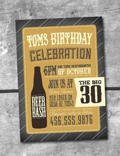 Beer Bash Invitation PRINTABLE INVITATION by Itsy by ItsyBelle Man Birthday 21st, 30th, 40th Birthday. Bachelor Party. Beer Tasting Party. BBQ