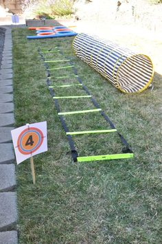 Nerf themed boys 10th birthday party Obstacle course