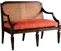 Sheraton Settee - Baker The Milling Road Collection Cane Furniture, Rattan Furniture, Furniture Styles, Furniture Design, Porch And Terrace, Dining Nook, Restaurant, Antique Chairs, Settee