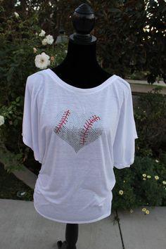Large Heart Baseball Bling Dolman Sleeved Shirt on Etsy, $27.00