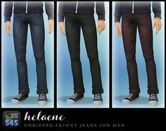 My Sims 4 Blog: Unripped Skinny Jeans for Males by Helaene
