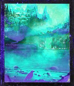 A spooky aqua and purple landscape.