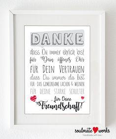 """Kunstdruck für Deine beste Freundin """"Danke für Deine Freundschaft"""" - Geschenk für die beste 'Freundin oder Freund. Druck oder Leinwand von SoulmateWorks auf Etsy"""