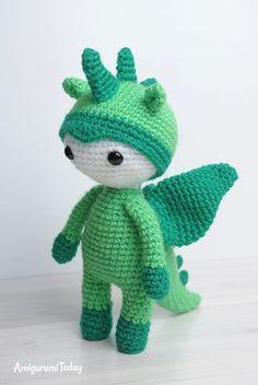 Amigurumi doll in dragon costume - Free amigurumi pattern