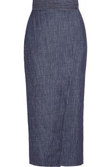 2015 fashion trend | everything denim | Adam Lippes Wrap-effect denim midi skirt | NET-A-PORTER