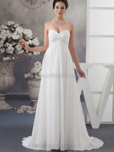 Empire Sweetheart Chiffon Court Train Beading Wedding Dresses