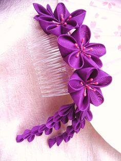 Vibrant ume kanzashi comb by elblack.deviantart.com on @deviantART
