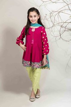 Best shocking pink with yellow pajama and green dupatta for Pakistani little girls Mariab kids party dresses 2017 for wedding Baby Girl Dresses Diy, Kids Party Wear Dresses, Baby Girl Frocks, Gowns For Girls, Frocks For Girls, Little Girl Dresses, Girls Dresses, Baby Girls, Eid Dresses