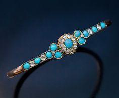 Antique Victorian Turquoise Diamond Gold Bangle Bracelet - Antique Jewelry | Vintage Rings | Faberge Eggs