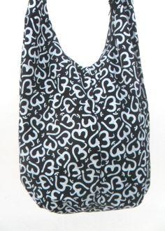 Shoulder Bag Crossbody Bag Sling Bag Hippie Hobo Bag Boho bohemian Handmade bag Purse Cross Body Thai bag / Gift Black White Color by Avivahandmade on Etsy